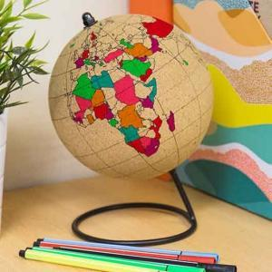COLOUR IN CORK GLOBE Travel Atlas World Map CORKBOARD + Pins + Pens