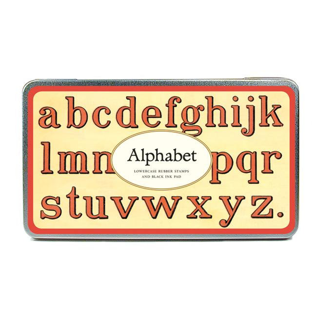 Alphabet - Lower case rubber stamps and black ink pas