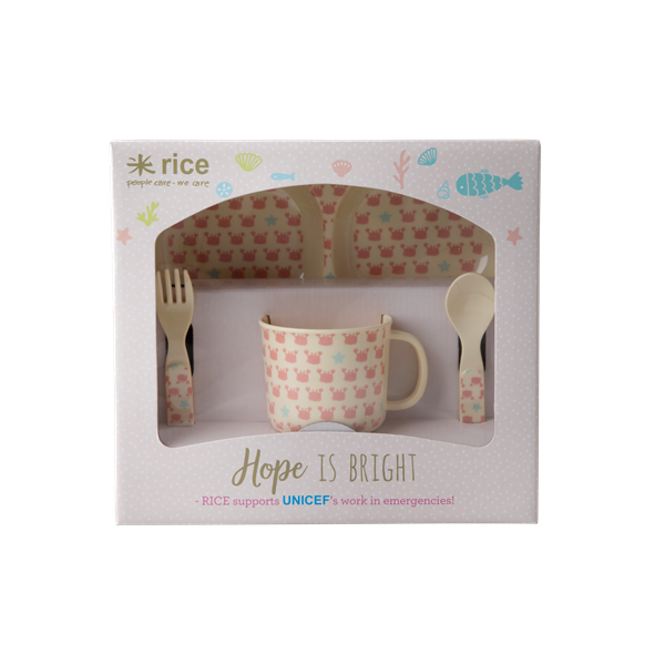 Melamine Baby Dinner Set in Gift Box - Crab and Starfish Print - 4 pcs.