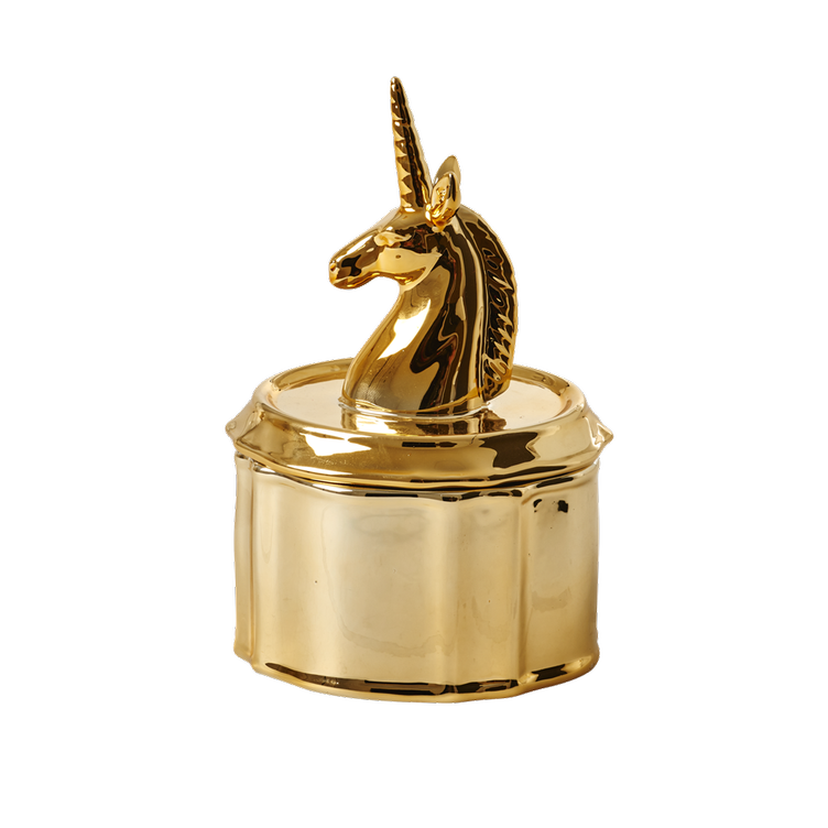 Porcelain Jewelry Box with Unicorn Head Lid - Gold