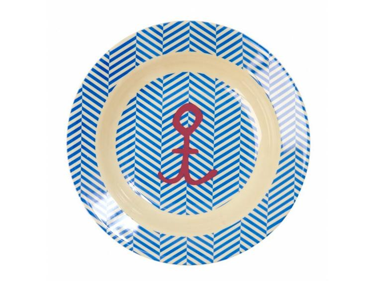 Melamine Kids Bowl with Sailoir stripes & Anchor