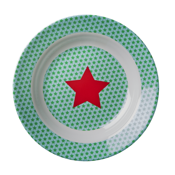 Melamine Kids Bowl with Green and Turqouise Star Print