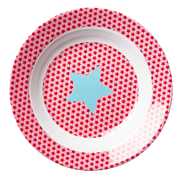 Enlarge Melamine Kids Bowl with Pink and Red Star Print