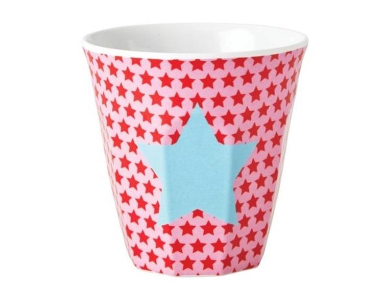 Small Melamine Cup - Two Tone - Stars in Pink