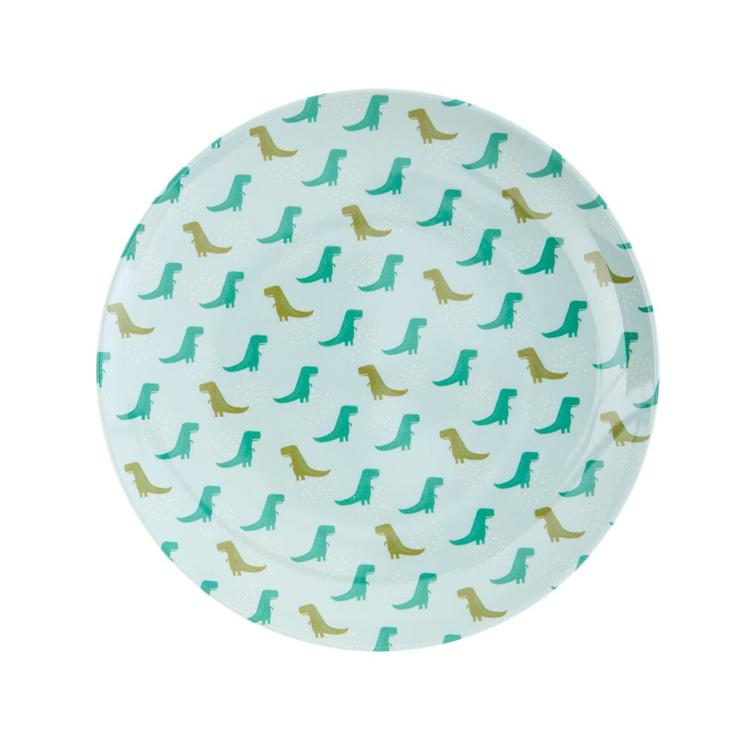 Melamine Kids Lunch Plate - Dino Print - RICE