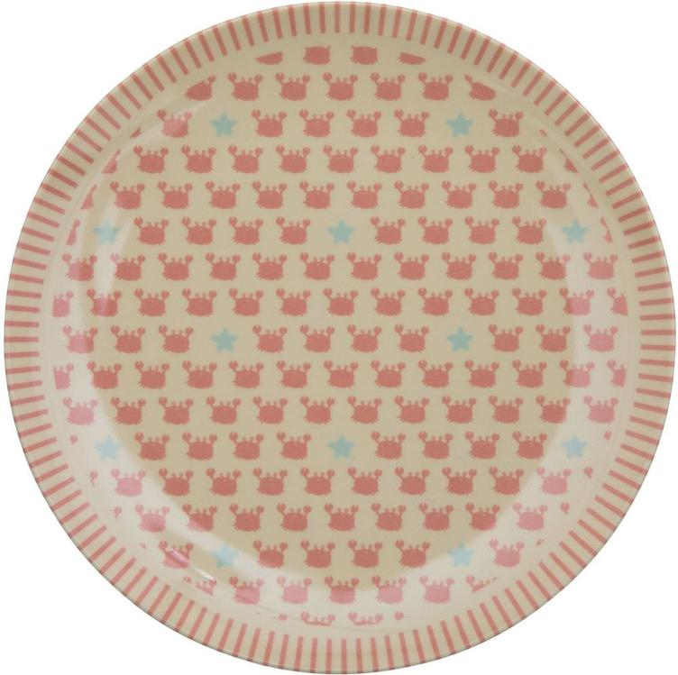 Melamine Kids Lunch Plate with Crabs and Starfish Print - RICE