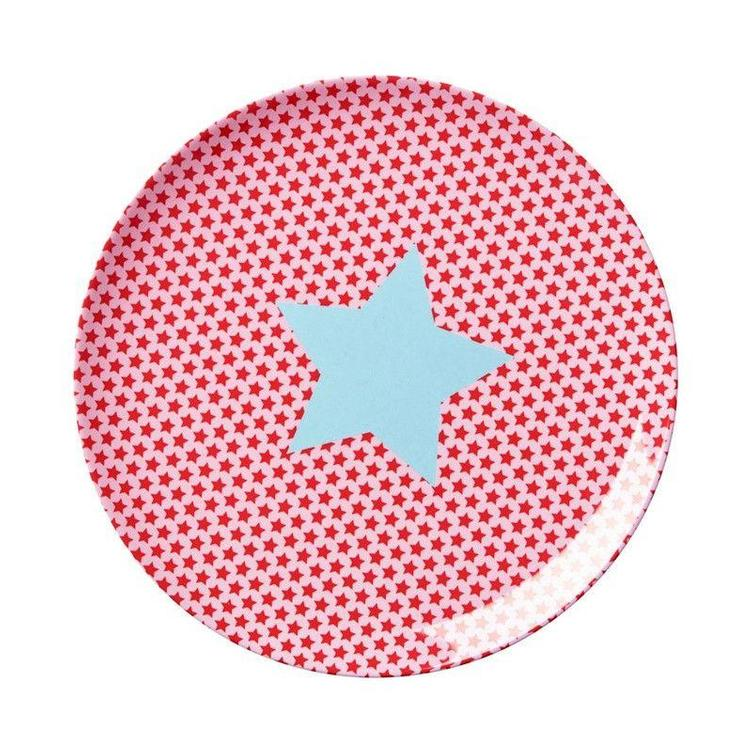 Melamine Kids Lunch Plate with Star Print in Pink and Red - RICE