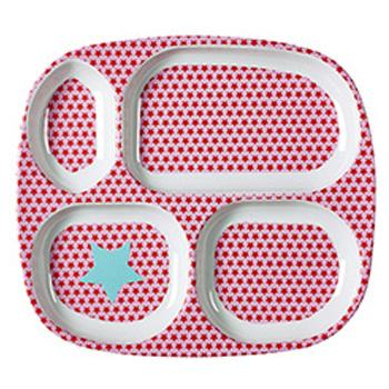 Kids 4 Room Melamine Plate with Star Print - Red and Pink - RICE