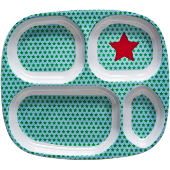 Kids 4 Room Melamine Plate with Star Print - Green & Turqouise