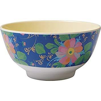 Medium Melamine Bowl - Two Tone - Bold Flower Print
