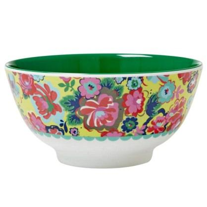 Medium Melamine Bowl - Two Tone - English Rose Print