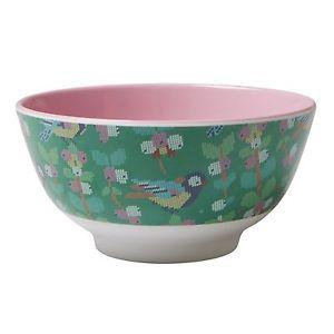 Medium Melamine Bowl - Two Tone - Vintage cross stitch bird print