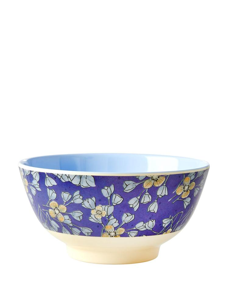 Medium Melamine Bowl - Two Tone - Hanging Flower Print