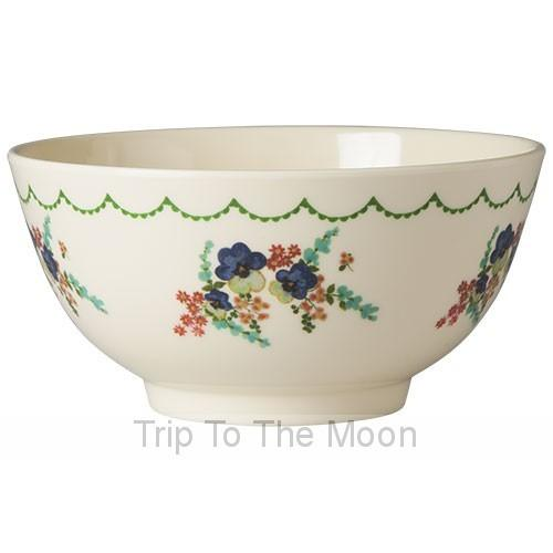 Medium Melamine Bowl - Two Tone - Cream Flower Print
