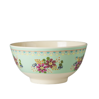 Medium Melamine Bowl - Two Tone - Mint Flower Print