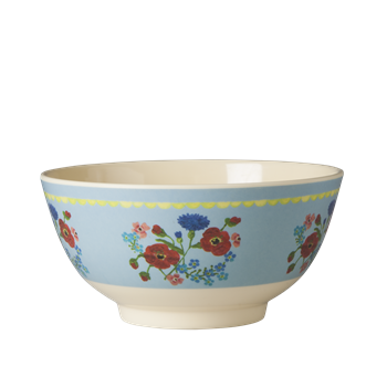 Medium Melamine Bowl - Two Tone - Soft Blue Flower Print