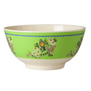 Medium Melamine Bowl - Two Tone - Spring Green Flower Print