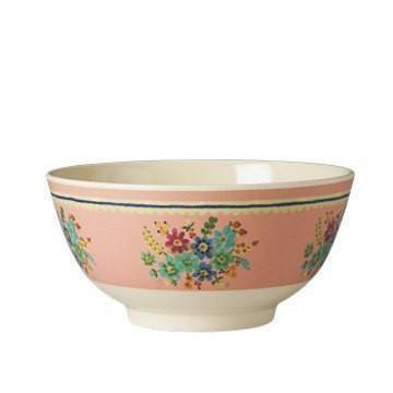 Medium Melamine Bowl - Two Tone - Soft Pink Flower Print