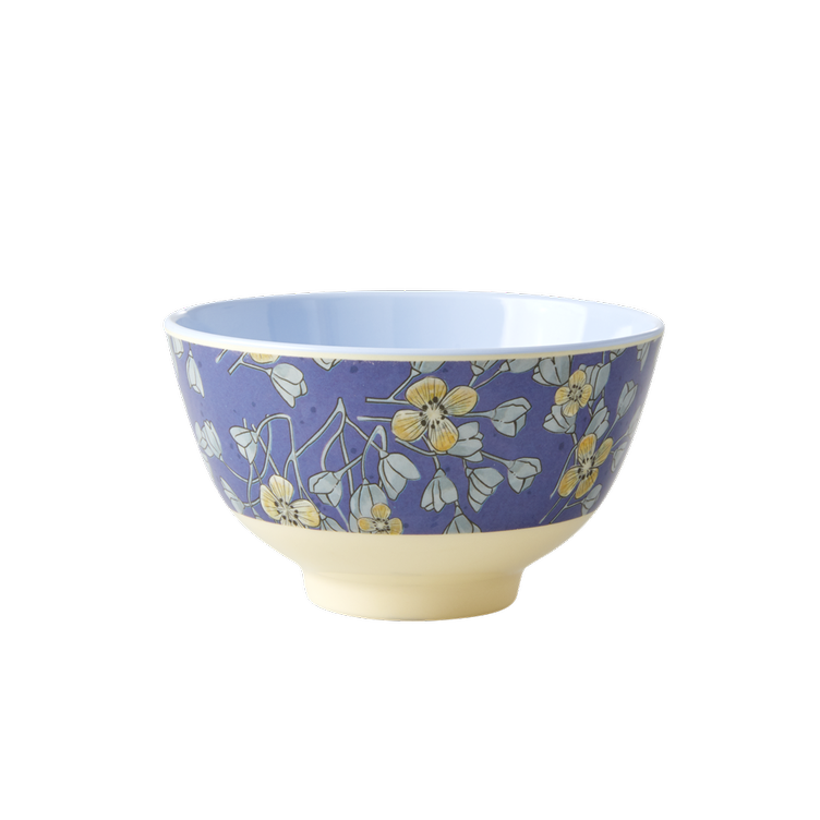 Small Melamine Bowl - Two Tone - Hanging Flower Print