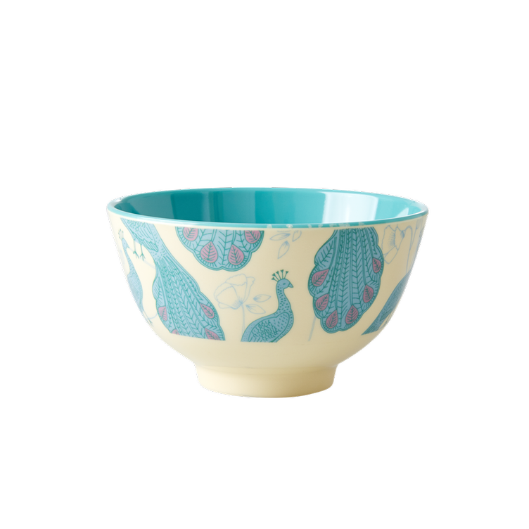Small Melamine Bowl - Two Tone - Peacock Print