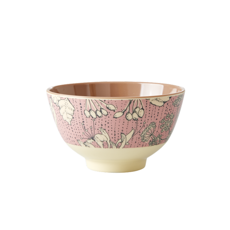 Small Melamine Bowl - Two Tone - Wild Chervil Print