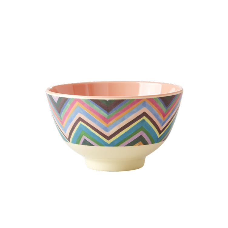 Small Melamine Bowl - Two Tone - Zig Zag Print