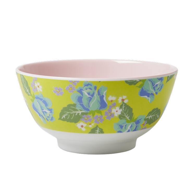 Medium Melamine Bowl - Two Tone - Vintage Roses Print