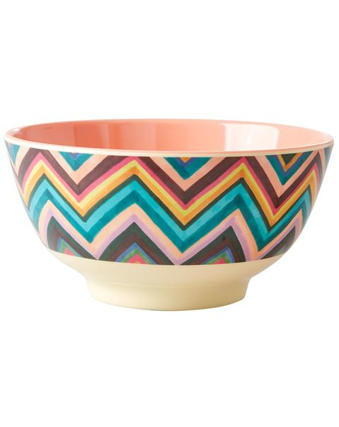 Medium Melamine Bowl - Two Tone - Zig Zag Print