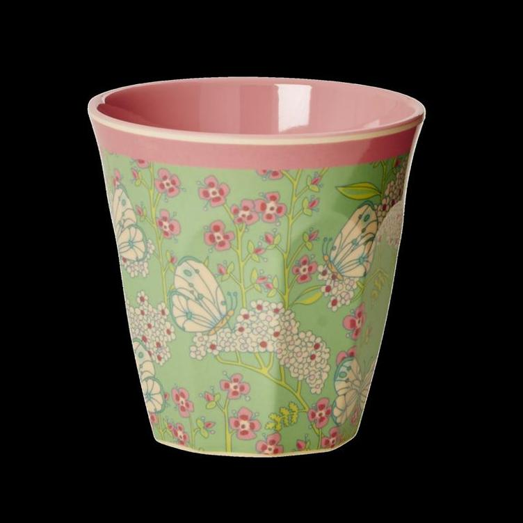 Melamine Cup with Butterfly and Flower Print - Two Tone - Medium