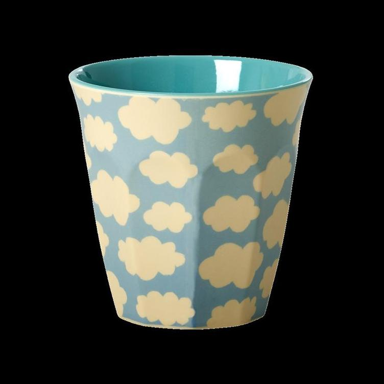 Melamine Cup with Cloud Print - Two Tone - Medium