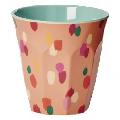 Medium Melamine Cup - Two Tone - Coral Dapper Dot Print