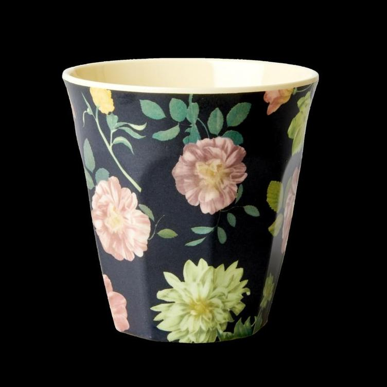 Melamine Cup - Dark Rose Print - Medium