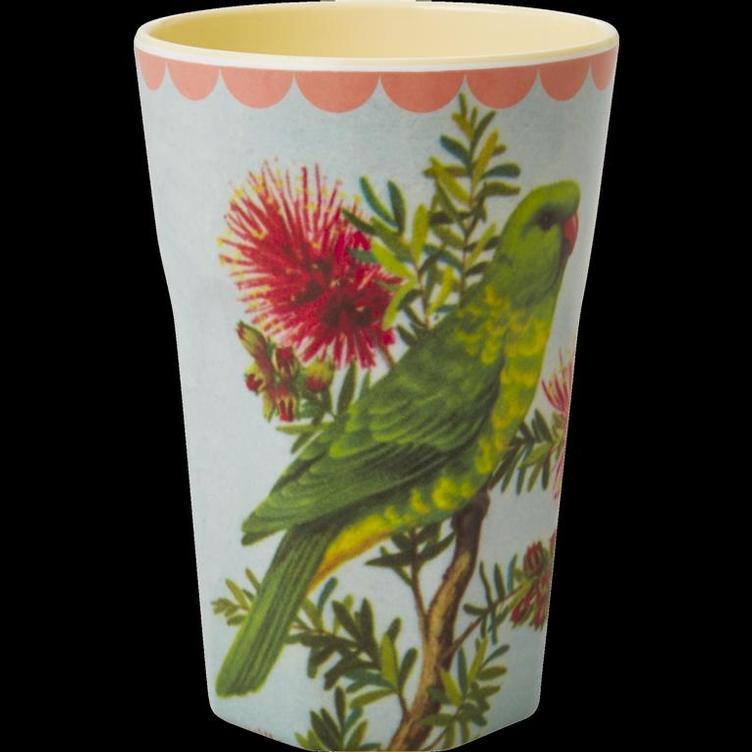 Melamine Cup with Vintage Parakeet Print - Two Tone - Tall