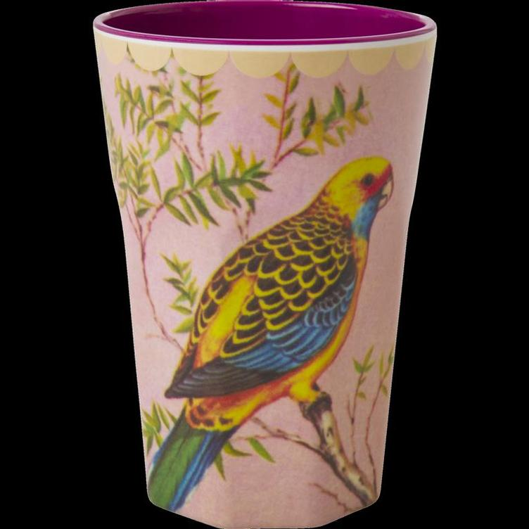 Melamine Cup with Vintage Budgie Print - Two Tone - Tall