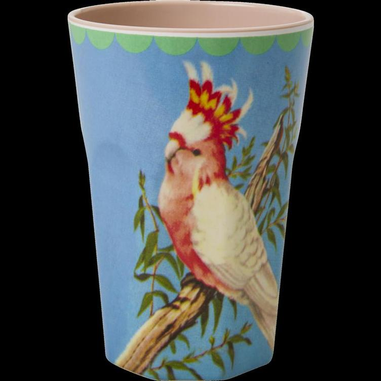 Melamine Cup with Vintage Cockatoo Print - Two Tone - Tall
