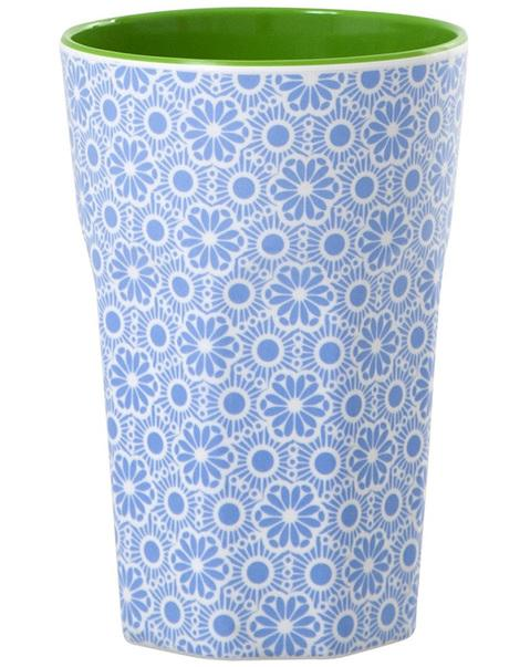 Melamine Cup with Marrakesh Print - Blue and White - Two Tone - Tall