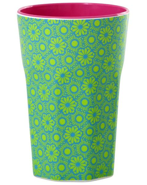 Melamine Cup with Marrakesh Print - Green and Turquoise - Two Tone - Tall