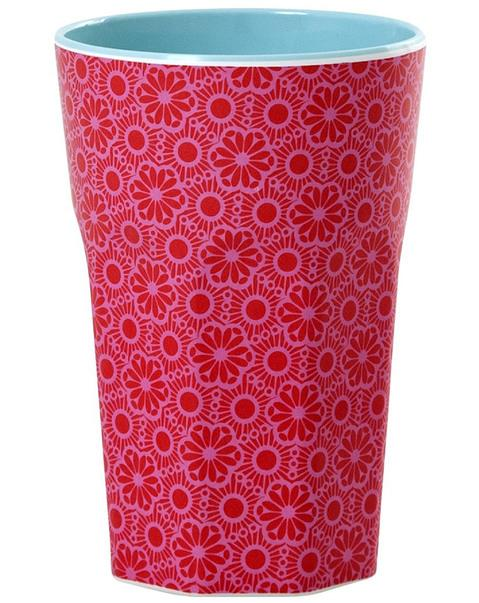 Melamine Cup with Marrakesh Print - Red and Pink - Two Tone - Tall