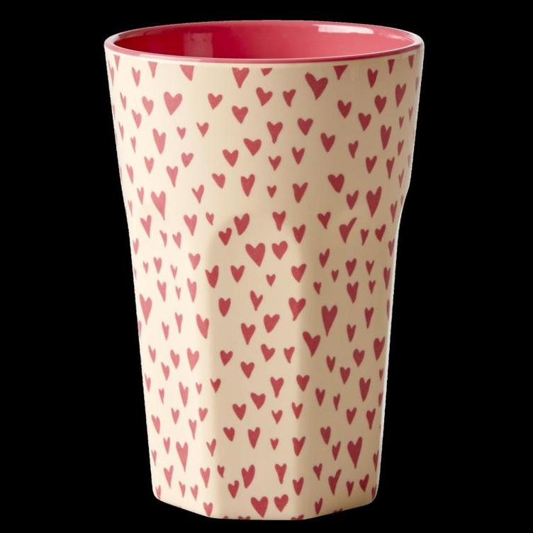 Melamine Cup with Small Hearts Print - Two Tone - Tall
