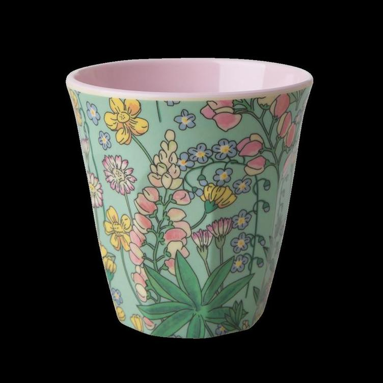 Melamine Cup with Lupin Print - Two Tone - Medium