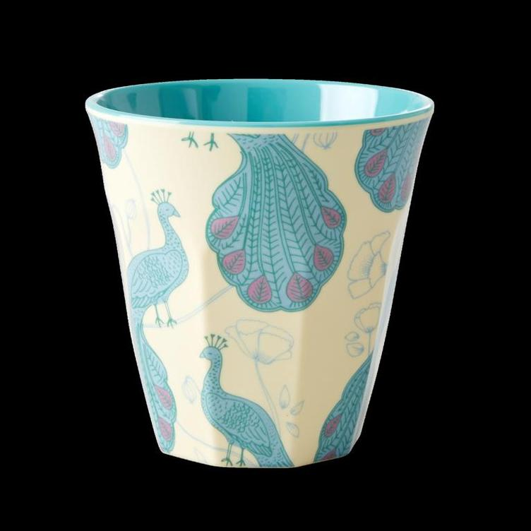 Medium Melamine Cup - Two Tone - Peacock Print