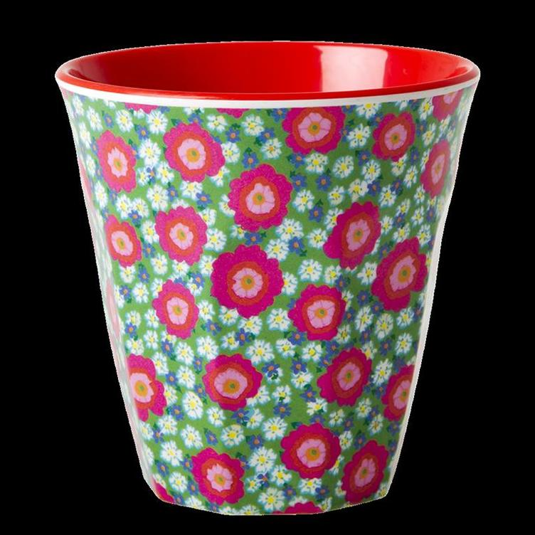Melamine Cup with Peony Print - Two Tone - Medium