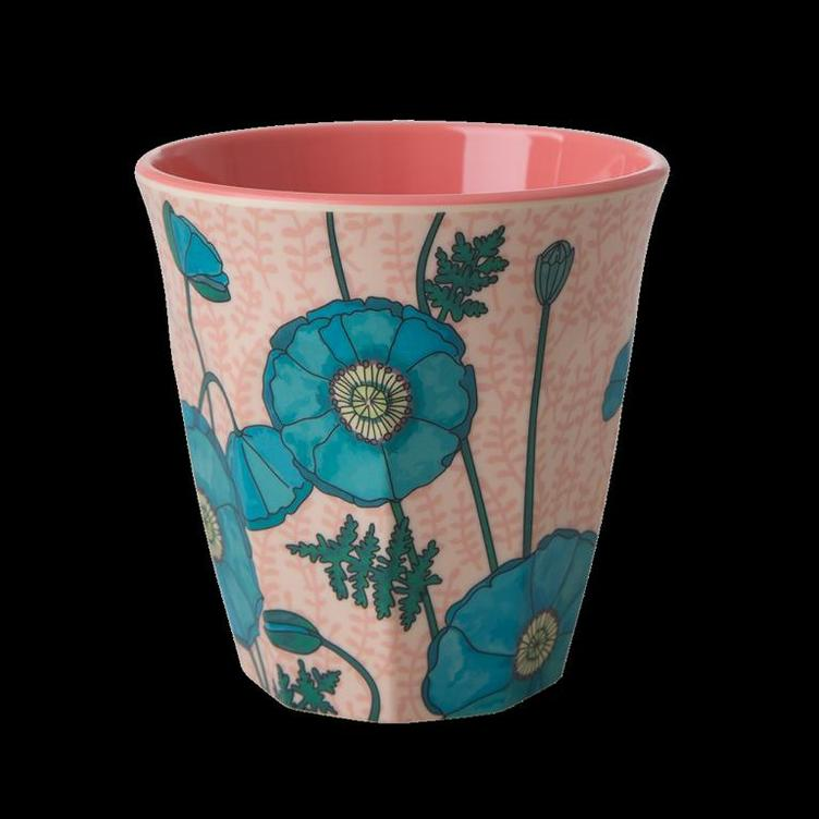Melamine Cup with Blue Poppy Print - Two Tone - Medium