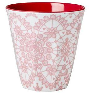 Medium Melamine Cup - Two Tone - Coral Lace Print