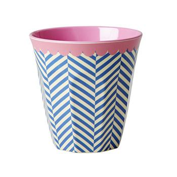 Medium Melamine Cup - Two Tone - Sailor Stripe Print