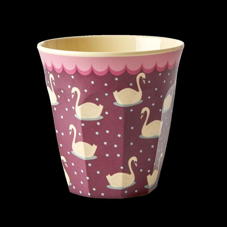 Melamine Cup with Swan Print - Bordeaux - Medium