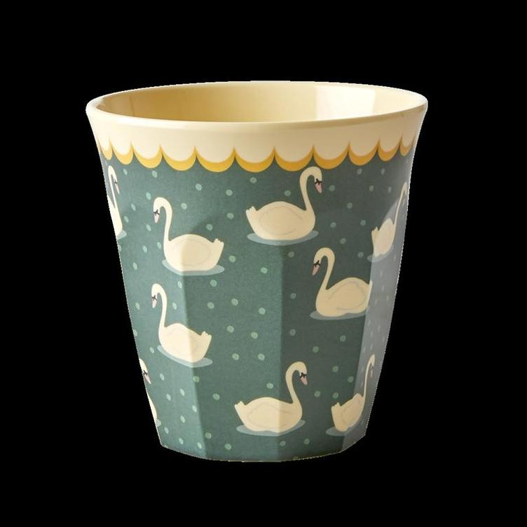 Melamine Cup with Swan Print - Khaki - Medium