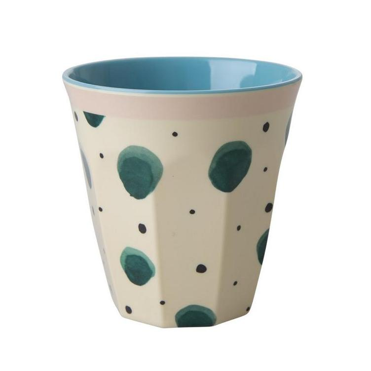 Melamine Cup with Watercolor Splash Print - Two Tone - Medium