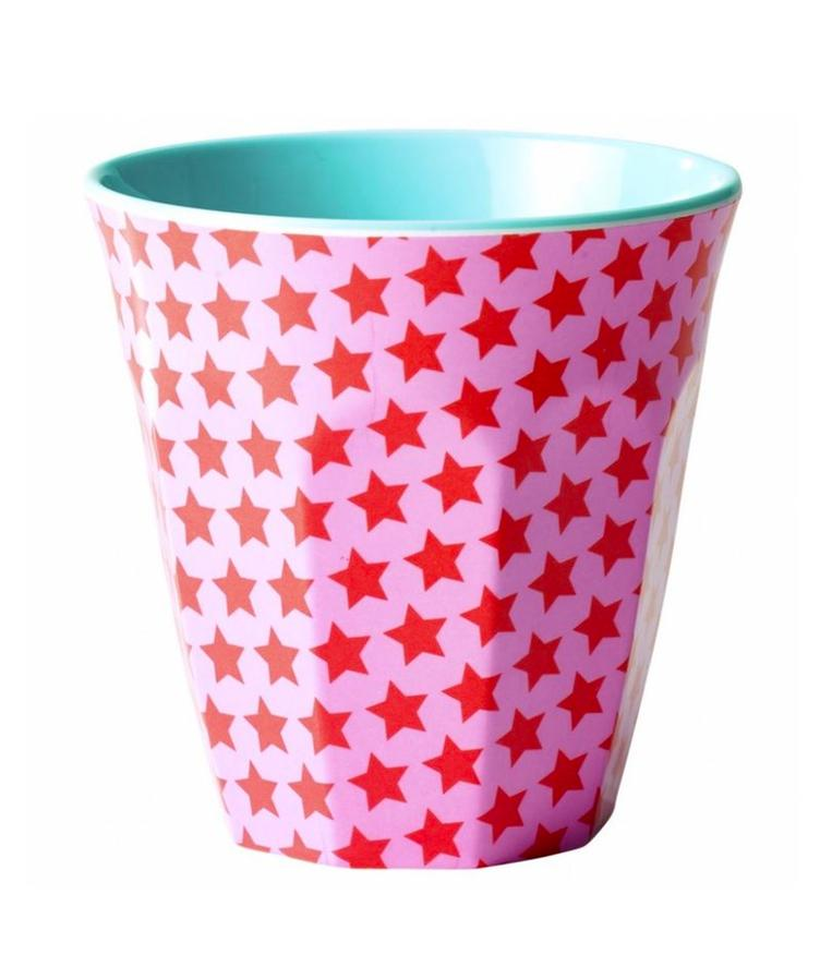 Medium Melamine Cup - Pink and Red Star Print - Two Tone