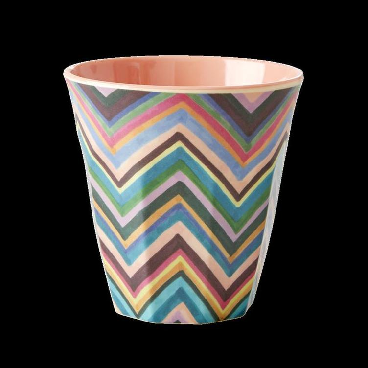 Medium Melamine Cup - Two Tone - Zig Zag Print
